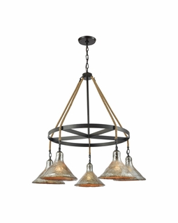 10436/5CH ELK Lighting Hand Formed Glass 5-Light Chandelier in Oiled Bronze with Mercury Glass