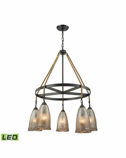 10438/5CH-LED Elk Hand Formed Glass 5 Light LED Chandelier In Oil Rubbed Bronze