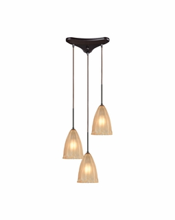 10439/3 ELK Lighting Calipsa 3-Light Triangular Pendant Fixture in Oiled Bronze with Light Amber Frosted Glass