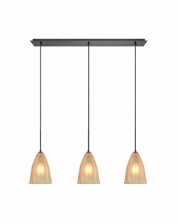 10439/3LP ELK Lighting Calipsa 3-Light Linear Pendant Fixture in Oiled Bronze with Light Amber Frosted Glass