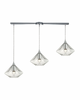 10440/3L ELK Lighting Geometrics 3-Light Linear Pendant Fixture in Polished Chrome with Light Amber Faceted Glass
