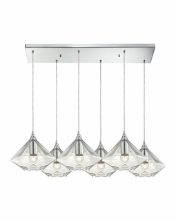 10440/6RC ELK Lighting Geometrics 6-Light Rectangular Pendant Fixture in Polished Chrome with Light Amber Faceted Glass
