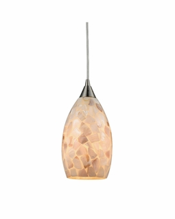 10443/1 ELK Lighting Capri 1-Light Mini Pendant in Satin Nickel with Capiz Shell Glass