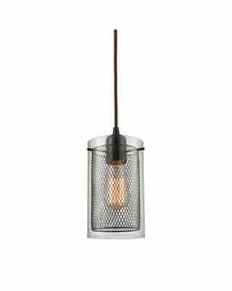 10448/1 ELK Lighting Brant 1-Light Mini Pendant in Oiled Bronze with Clear Glass and Metal Fishnet Shade