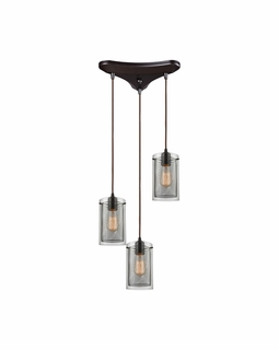 10448/3 ELK Lighting Brant 3-Light Triangular Pendant Fixture in Oiled Bronze with Clear Glass and Metal Fishnet Shade