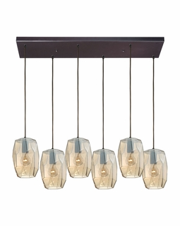 10451/6RC Elk Geometrics 6 Light Mini Pendant In Oil Rubbed Bronze