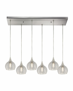 10455/6RC Elk Kersey 6 Light Mini Pendant In Satin Nickel