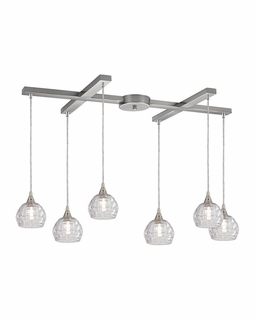 10456/6 Elk Kersey 6 Light Mini Pendant In Satin Nickel