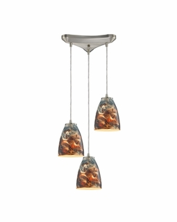 10460/3CS ELK Lighting Abstractions 3-Light Triangular Pendant Fixture in Satin Nickel with Cosmic Storm Glass