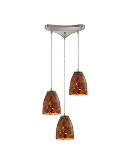 10460/3LS Elk Abstractions 3 Light Mini Pendant In Satin Nickel