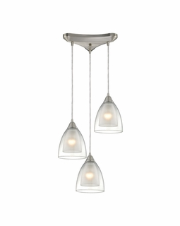10464/3 ELK Lighting Layers 3-Light Triangular Pendant Fixture in Satin Nickel with Clear Glass