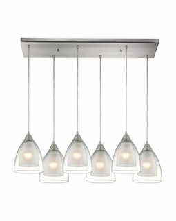 10464/6RC ELK Lighting Layers 6-Light Rectangular Pendant Fixture in Satin Nickel with Clear Glass