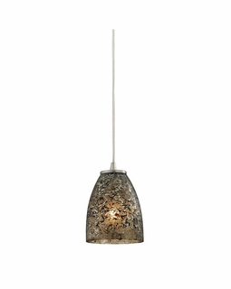 10465/1BRF ELK Lighting Fissure 1-Light Mini Pendant in Satin Nickel with Smoke Glass