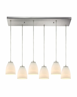 10466/6RC ELK Lighting Sandstorm 6-Light Rectangular Pendant Fixture in Satin Nickel with Off-white Glass