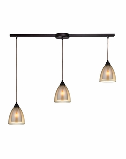 10474/3L ELK Lighting Layers 3-Light Linear Pendant Fixture in Oil Rubbed Bronze with Amber Teak Glass