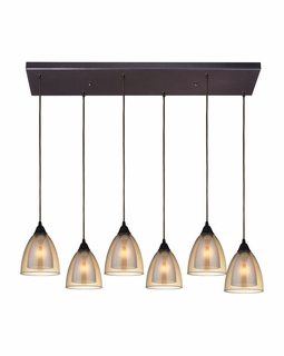 10474/6RC ELK Lighting Layers 6-Light Rectangular Pendant Fixture in Oil Rubbed Bronze with Amber Teak Glass