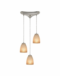 10476/3 Elk Sandstorm 3 Light Mini Pendant In Satin Nickel