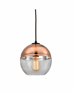 10490/1 ELK Lighting Revelo 1-Light Mini Pendant in Oil Rubbed Bronze with Clear and Copper-plated Glass