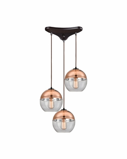 10490/3 ELK Lighting Revelo 3-Light Triangular Pendant Fixture in Oil Rubbed Bronze with Clear and Copper-plated Glass