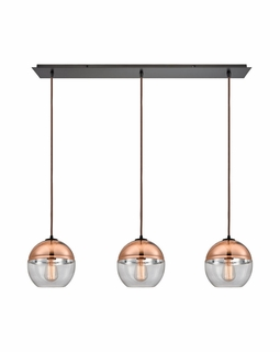 10490/3LP ELK Lighting Revelo 3-Light Linear Pendant Fixture in Oil Rubbed Bronze with Clear and Copper-plated Glass