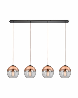 10490/4LP ELK Lighting Revelo 4-Light Linear Pendant Fixture in Oil Rubbed Bronze with Clear and Copper-plated Glass