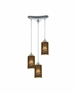 10505/3 ELK Lighting Illusions 3-Light Triangular Pendant Fixture in Polished Chrome with Sage Mercury Mirror Glass