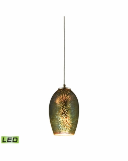 10506/1-LED ELK Lighting Illusions 1-Light Mini Pendant in Satin Nickel with Fireworks Glass - Includes LED Bulb