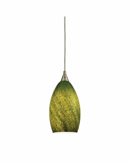 10510/1GRS ELK Lighting Earth 1-Light Mini Pendant in Satin Nickel with Sunlit Grass Green Glass