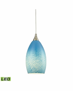 10510/1SKY-LED ELK Lighting Earth 1-Light Mini Pendant in Satin Nickel with Whispy Cloud Sky Blue Glass - Includes LED Bulb