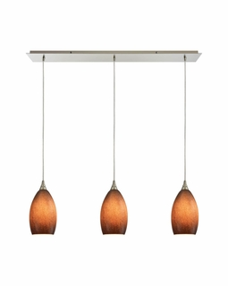 10510/3LP-SND ELK Lighting Earth 3-Light Linear Pendant Fixture in Satin Nickel with Textured Sand Glass