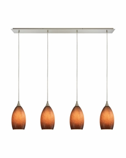 10510/4LP-SND ELK Lighting Earth 4-Light Linear Pendant Fixture in Satin Nickel with Textured Sand Glass