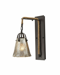 10631/1SCN ELK Lighting Hand Formed Glass 1-Light Wall Lamp in Oiled Bronze with Mercury Glass