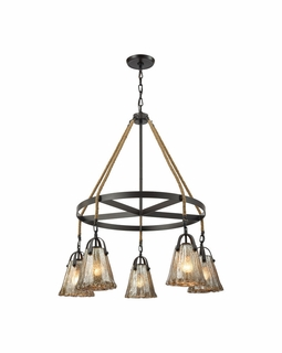 10631/5CH ELK Lighting Hand Formed Glass 5-Light Chandelier in Oiled Bronze with Mercury Glass