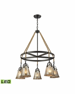 10631/5CH-LED ELK Lighting Hand Formed Glass 5-Light Chandelier in Oiled Bronze with Mercury Glass - Includes LED Bulbs