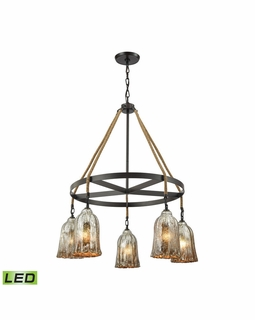 10641/5CH-LED Elk Hand Formed Glass 5 Light LED Chandelier In Oil Rubbed Bronze