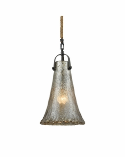 10651/1 ELK Lighting Hand Formed Glass 1-Light Mini Pendant in Oiled Bronze with Mercury Glass