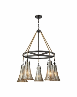10651/5CH ELK Lighting Hand Formed Glass 5-Light Chandelier in Oiled Bronze with Mercury Glass