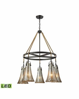 10651/5CH-LED ELK Lighting Hand Formed Glass 5-Light Chandelier in Oiled Bronze with Mercury Glass - Includes LED Bulbs