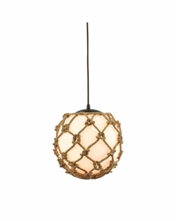 10710/1 ELK Lighting Coastal Inlet 1-Light Mini Pendant in Oiled Bronze with Rope and Opal Glass