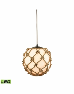 10710/1-LED ELK Lighting Coastal Inlet 1-Light Mini Pendant in Oiled Bronze with Rope and Opal Glass - Includes LED Bulb