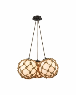 10710/3SR ELK Lighting Coastal Inlet 3-Light Chandelier in Oiled Bronze with Rope and Opal Glass