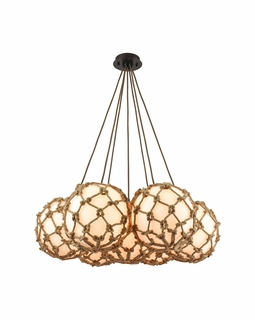 10710/7SR ELK Lighting Coastal Inlet 7-Light Chandelier in Oiled Bronze with Rope and Opal Glass