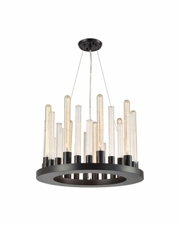 10720/9 ELK Lighting Glass Skyline 9-Light Chandelier in Oil Rubbed Bronze with Ribbed Clear Glass