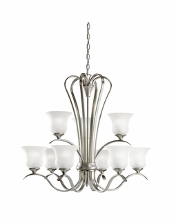 10741NI Kichler Transitional Wedgeport Chandelier 9Lt Fluorescent - Brushed Nickel