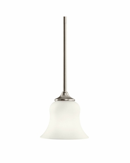 10743NI Kichler Transitional Wedgeport Mini Pendant 1Lt Fluorescent - Brushed Nickel