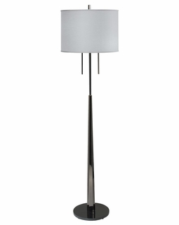 1094-ASL-2106 Thumprints Obsidian Floor Lamp - Black Nickel Finish and Gray Silk Hardback Shade
