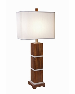 1105-ASL-2070 Thumprints Bali - Rectangle Shade Table Lamp with Acacia Wood (Sustainable resource) Mother of pearl accents in grooves