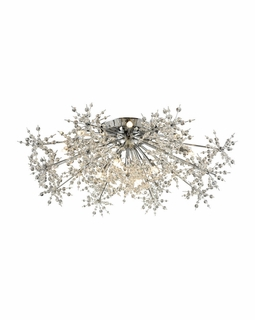 11892/13 Elk Snowburst 13 Light Semi Flush In Polished Chrome