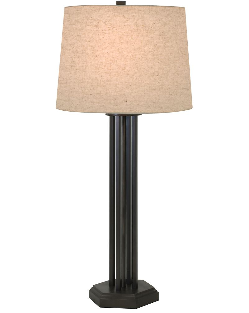1244 ASL 2166 Thumprints Woodland Table Lamp   Mahogany Bronze Finish And  Natural Linen Hardback Shade