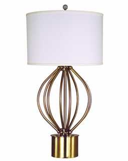 1247-ASL-2172 Thumprints Dewdrop Table Lamp - Brushed Brass Finish and White Silk Hardback Shade